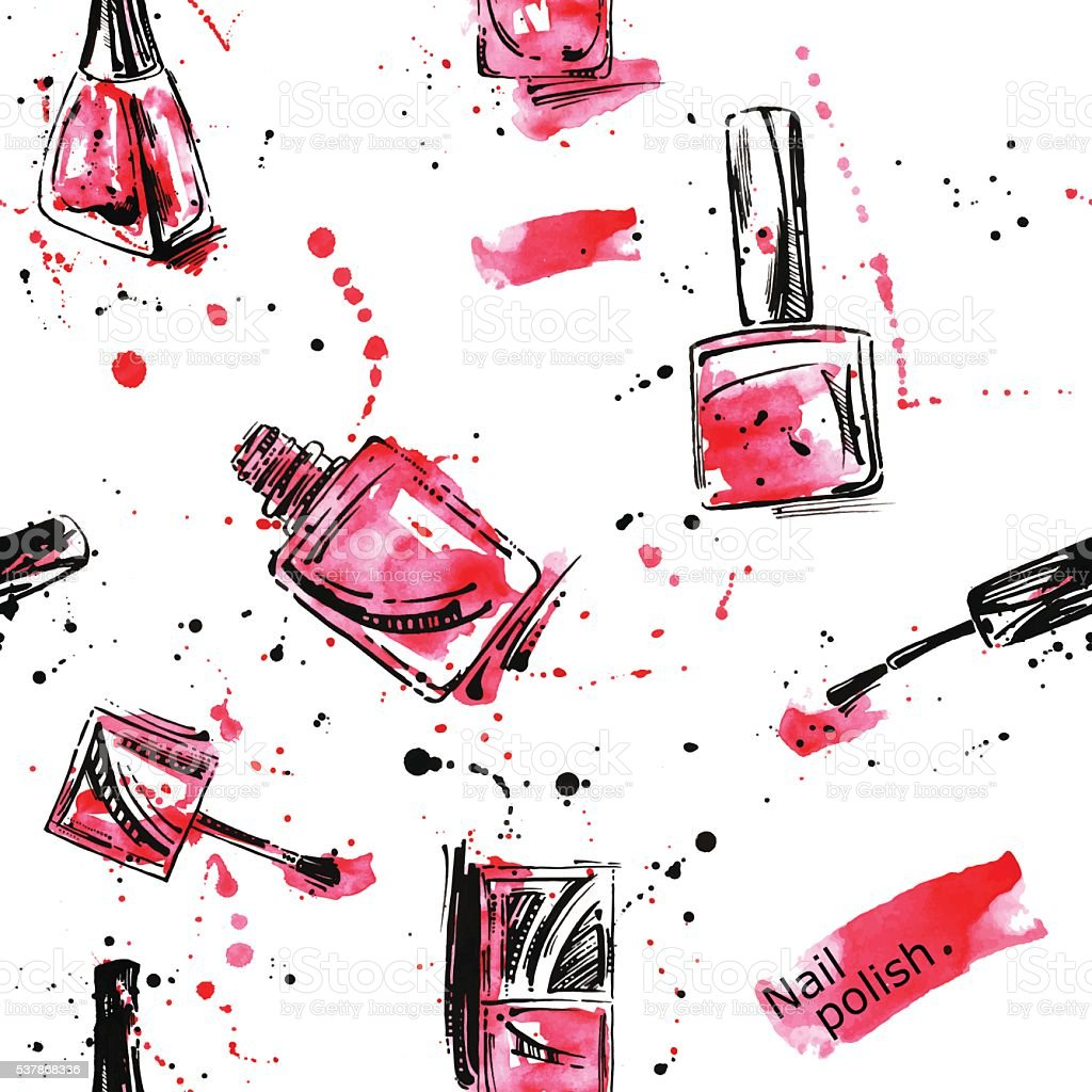 Watercolor seamless pattern with nail polish. vector art illustration