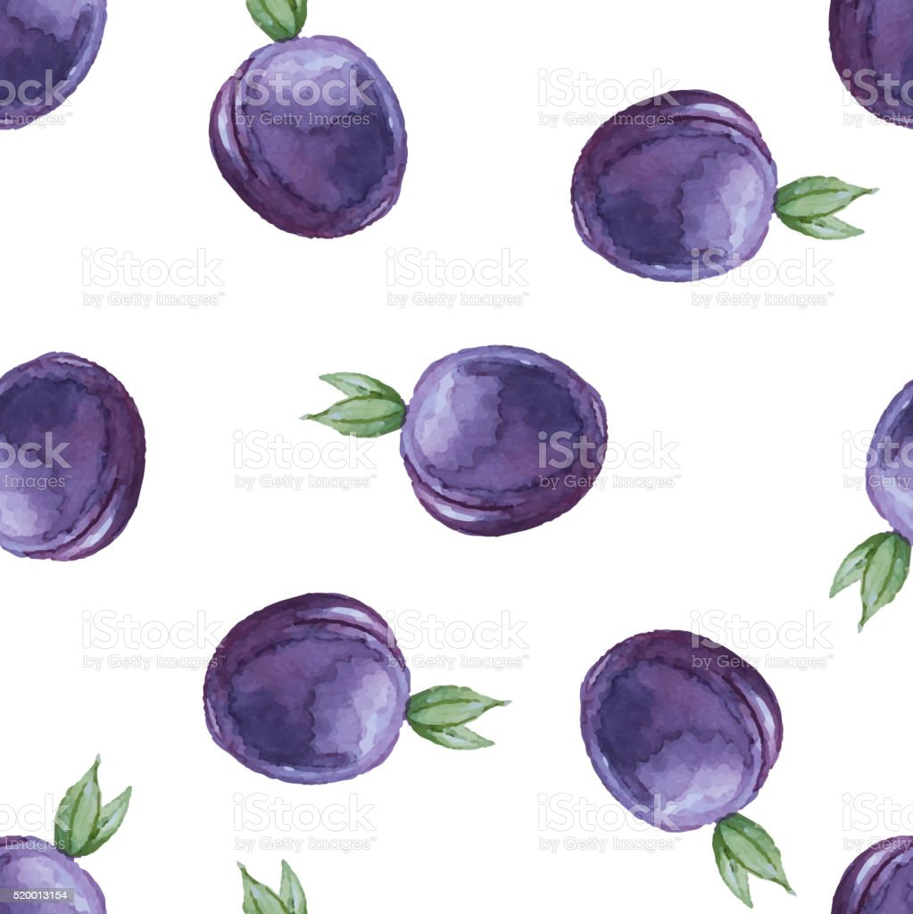 Watercolor seamless pattern with plums. vector art illustration