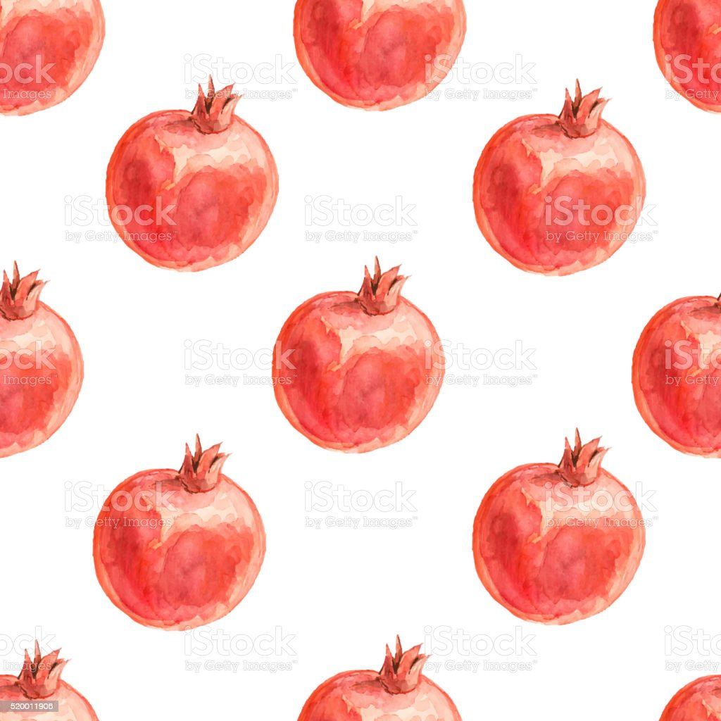Watercolor seamless pattern with pomegranates. vector art illustration