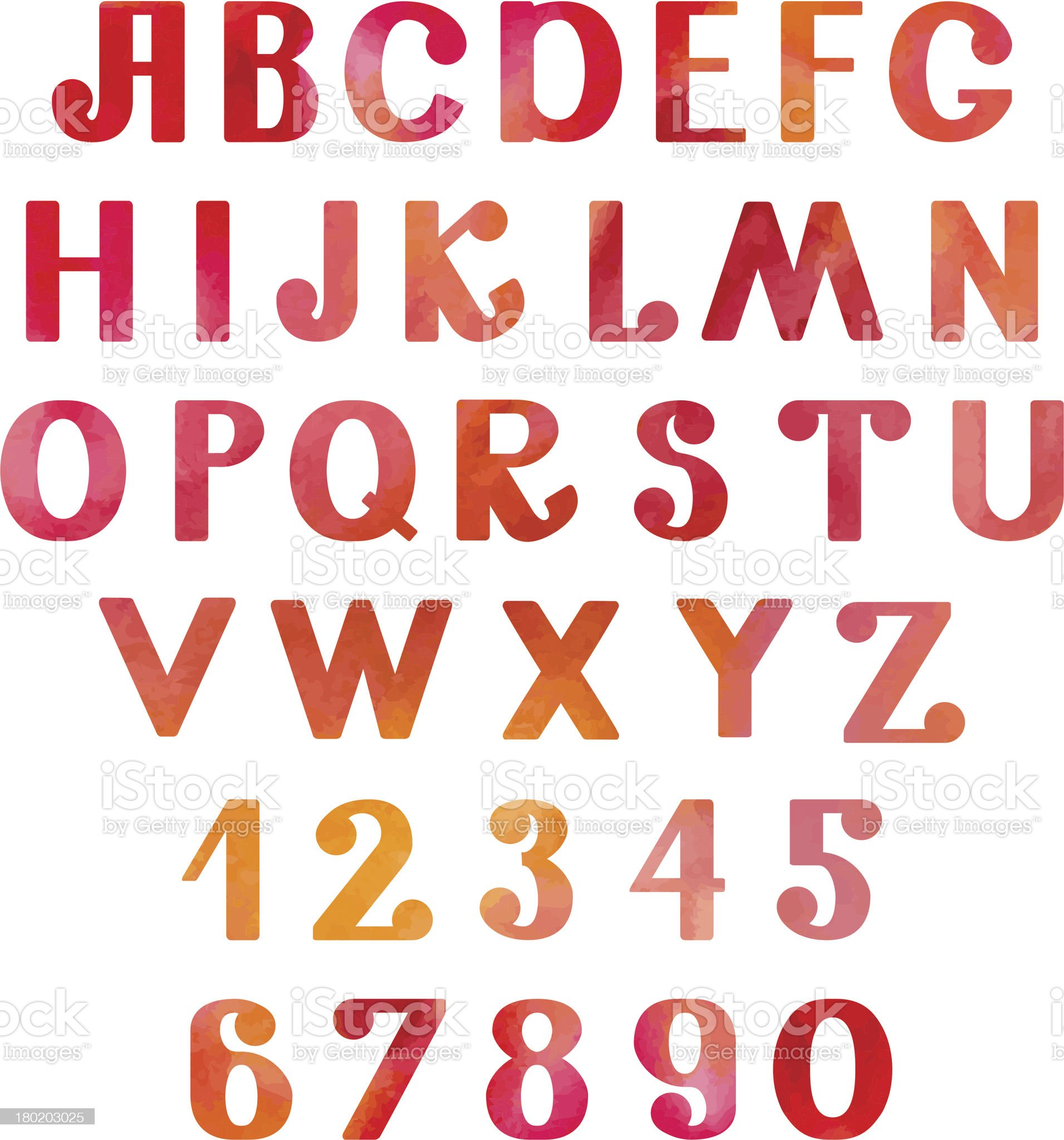 Watercolor set numbers and letters royalty-free stock vector art