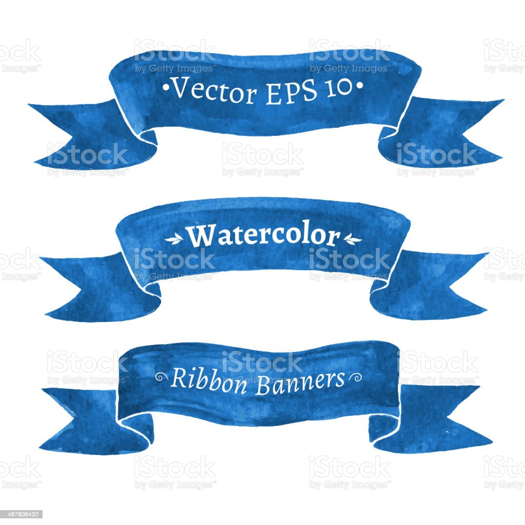 Watercolor set of blue ribbon banners. vector art illustration