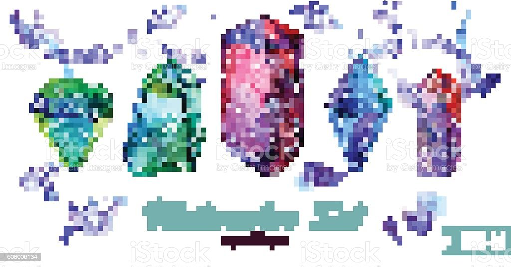 Watercolor set of crystals and spots. Isoleted groups vector art illustration