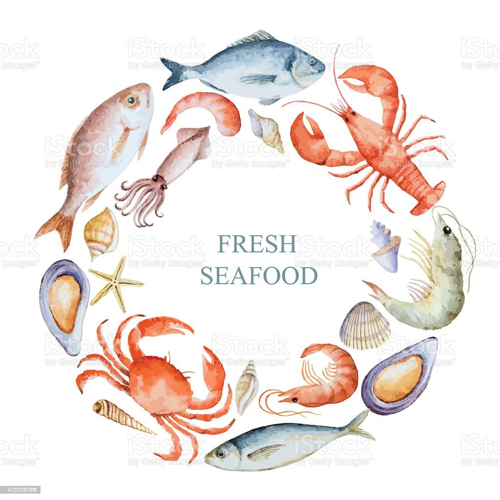 Watercolor set of seafood vector art illustration