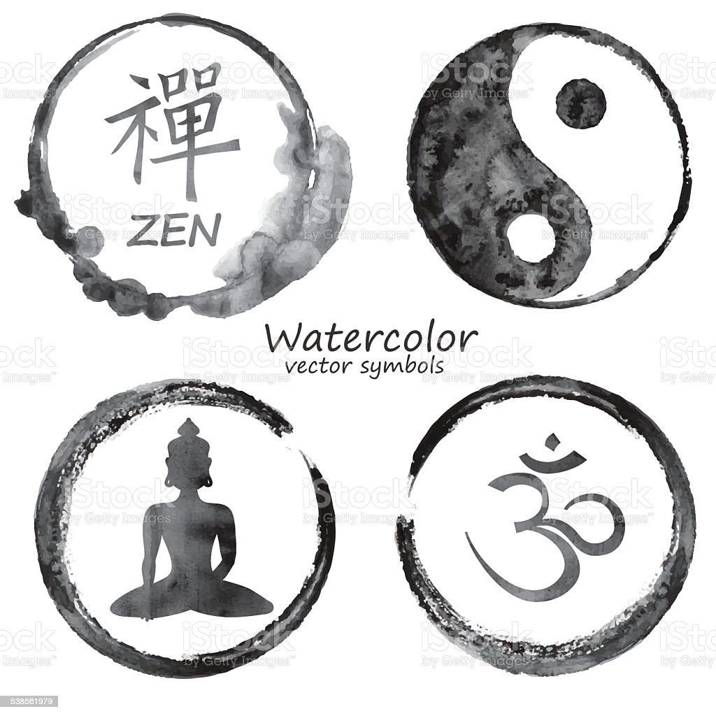 Watercolor set of yoga and buddhism icons vector art illustration