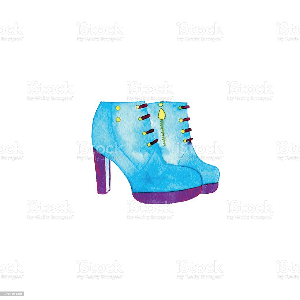 watercolor shoes vector art illustration
