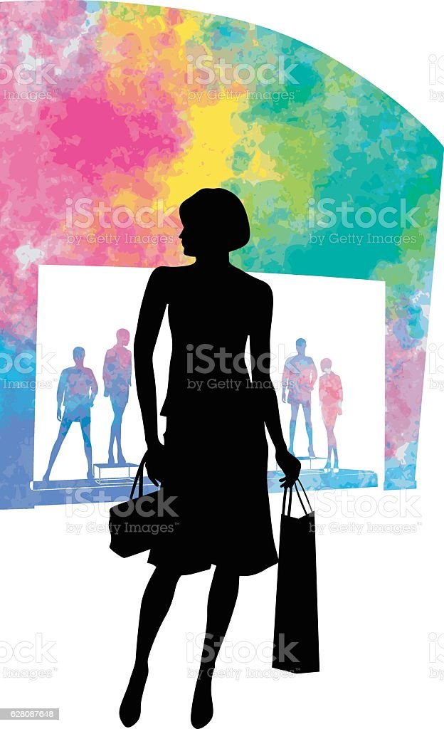 Watercolor Shopping Models vector art illustration