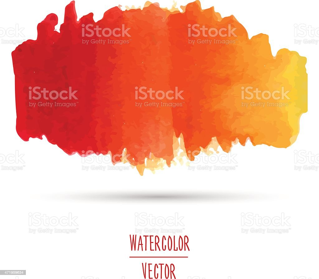 Watercolor spot with a gradient from red to yellow. vector art illustration