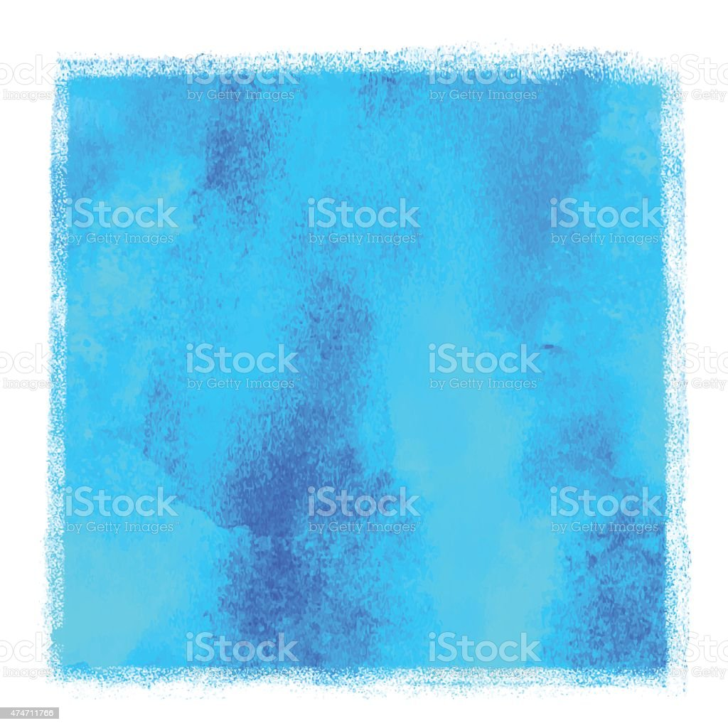 Watercolor square blue paint stain vector art illustration
