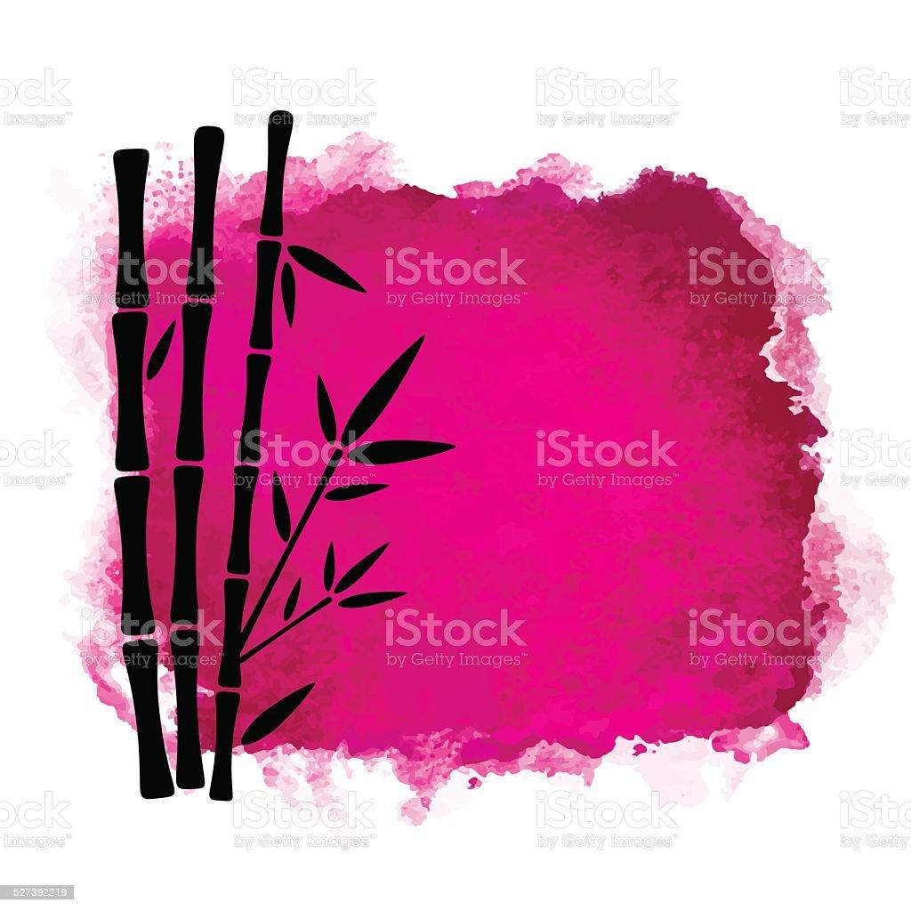Aquarell Square Farbe Schmutz Und Bambusbäumen Vektor Illustration ...