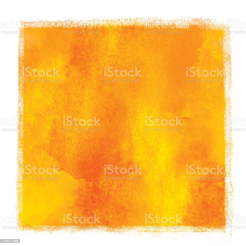 Watercolor square yellow, orange paint stain vector art illustration