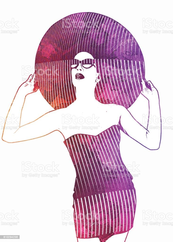 Watercolor style illustration of elegant woman wearing vintage clothes with half tone pattern vector art illustration