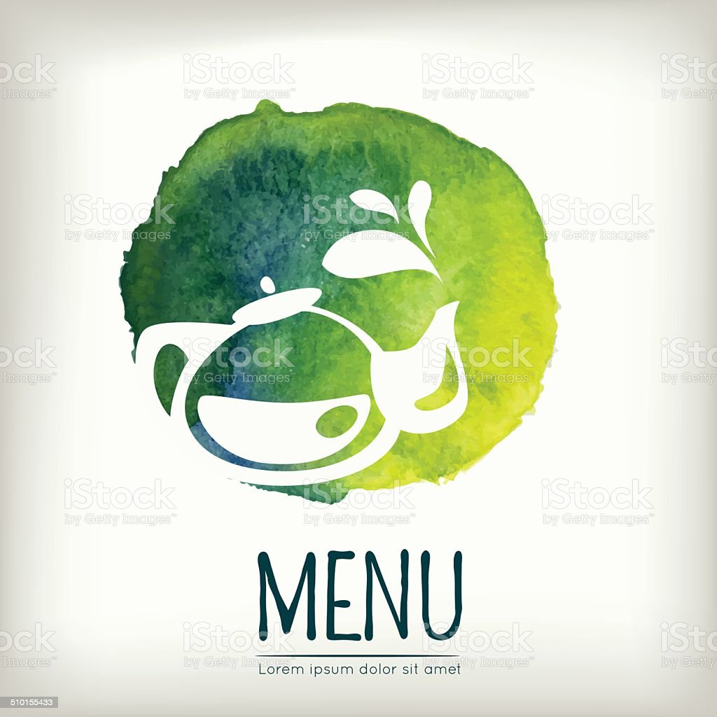 Watercolor style menu design with tea element vector art illustration