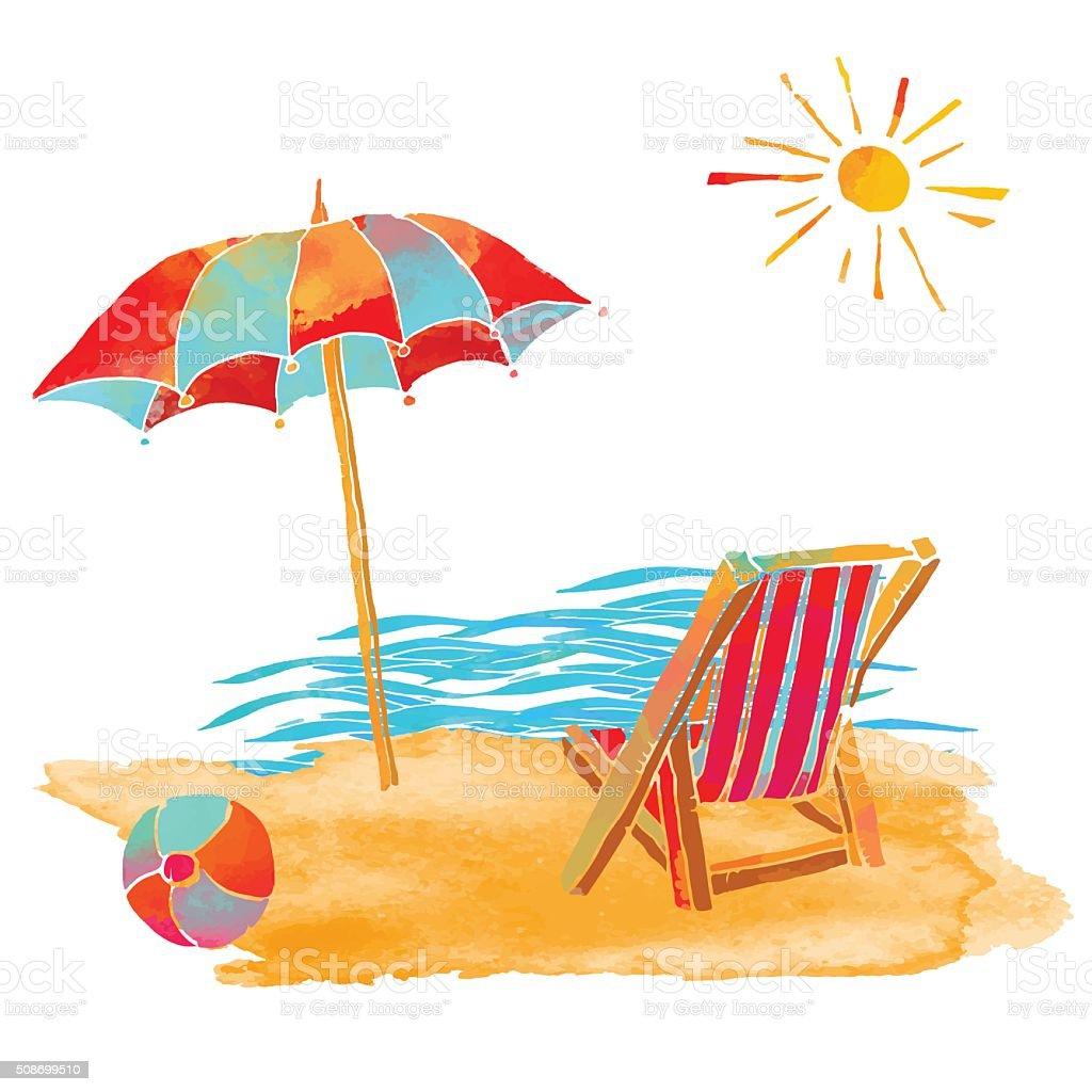 Watercolor summer beach set vector art illustration