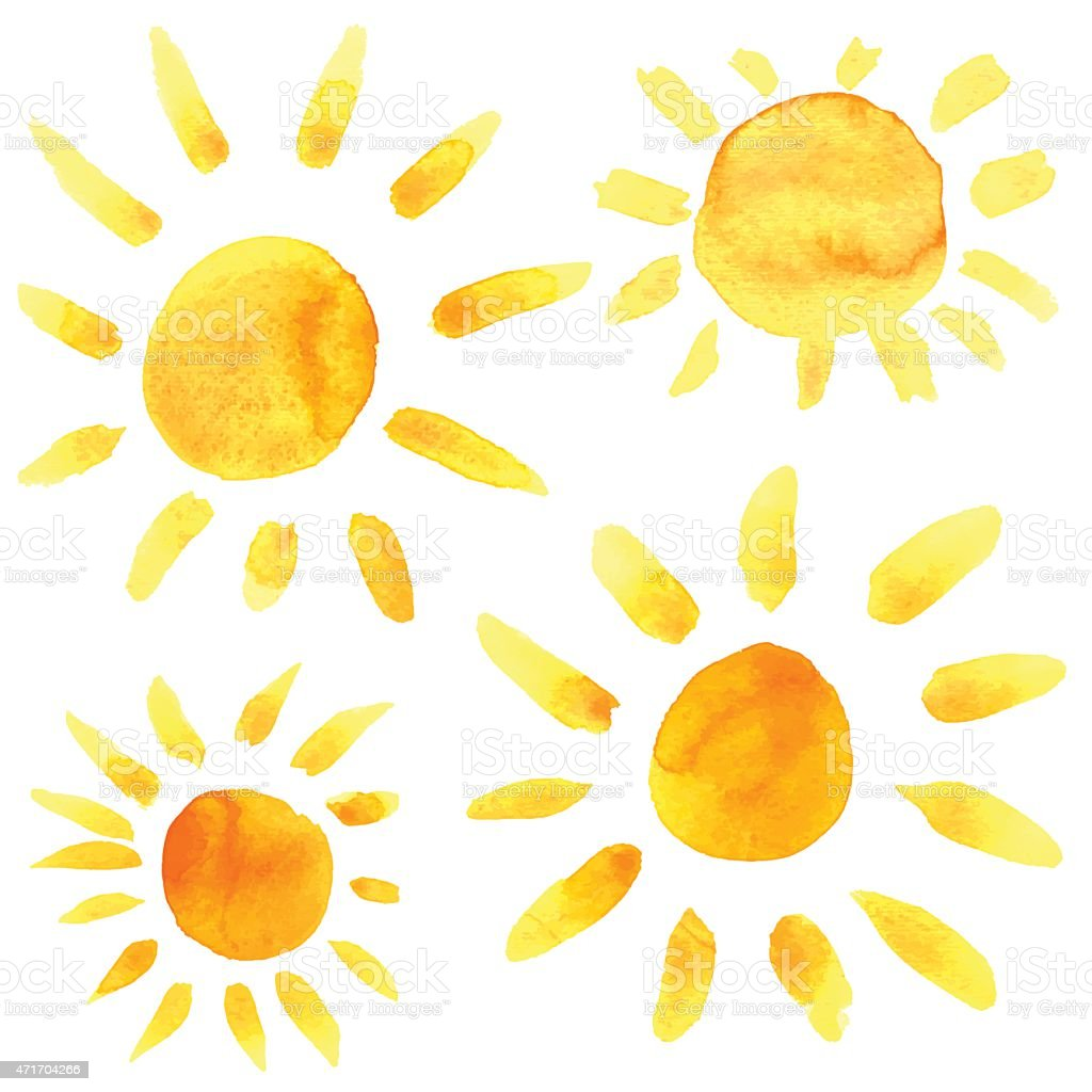 Watercolor sun icons set closeup isolated vector art illustration