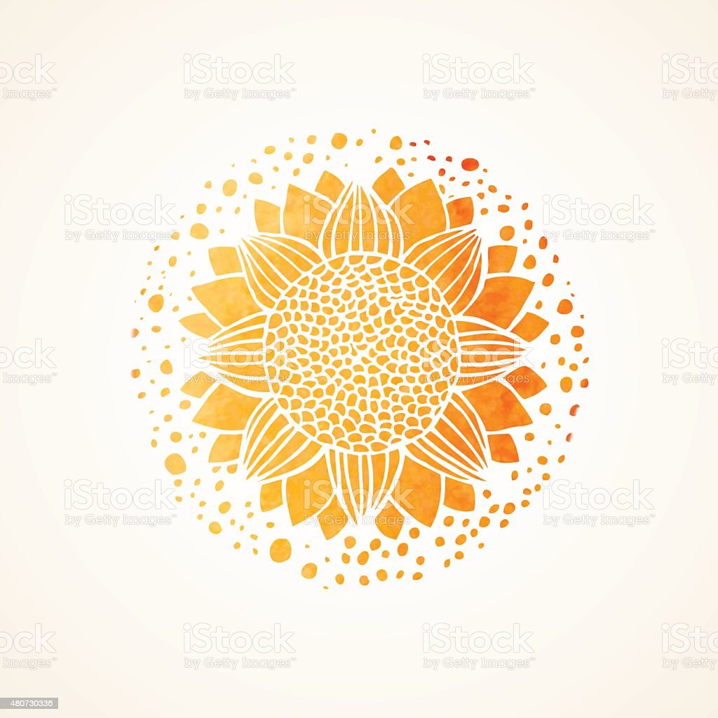 Watercolor sunny yellow lace pattern. Vector element. Mandala vector art illustration