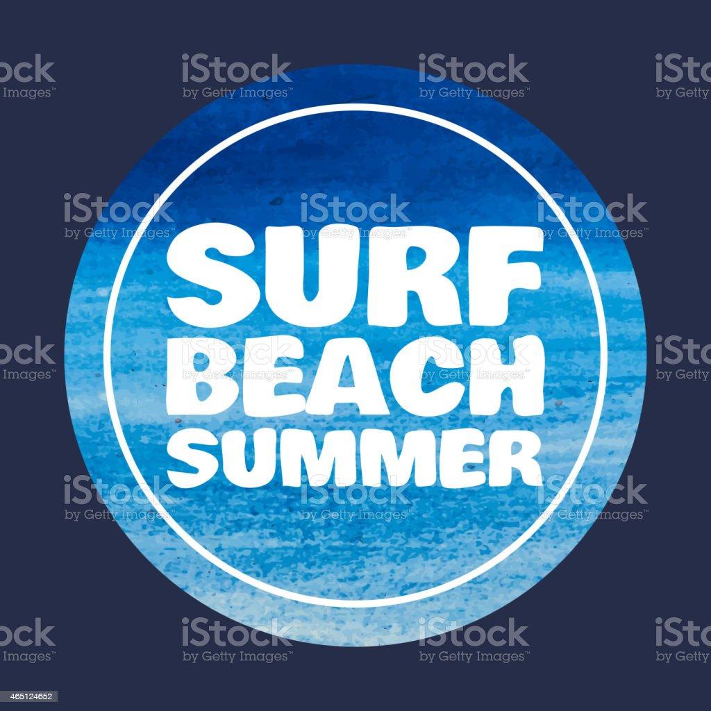 watercolor Surf typography, t-shirt graphics print, vectors vector art illustration