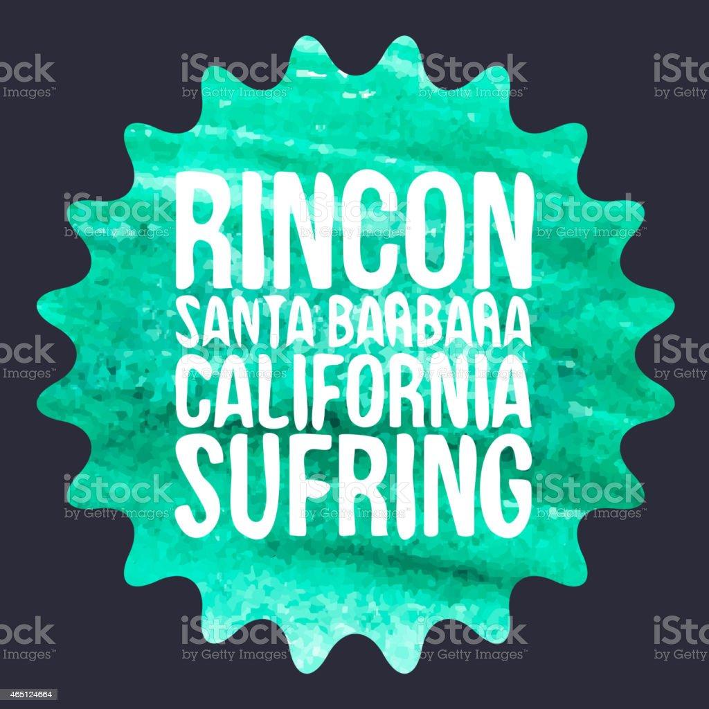 watercolor surf typography, t-shirt graphics, vectors vector art illustration