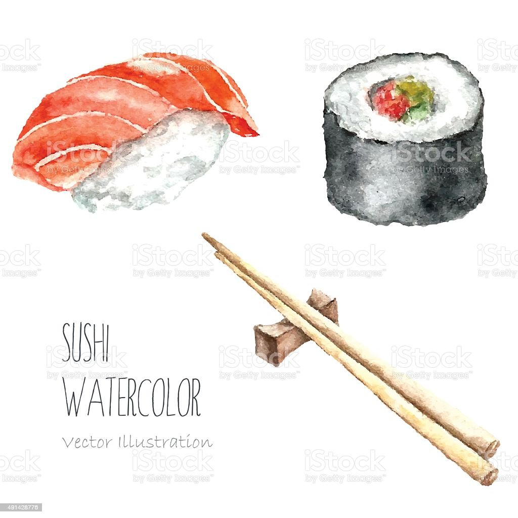 Watercolor sushi and roll with chopsticks. vector art illustration