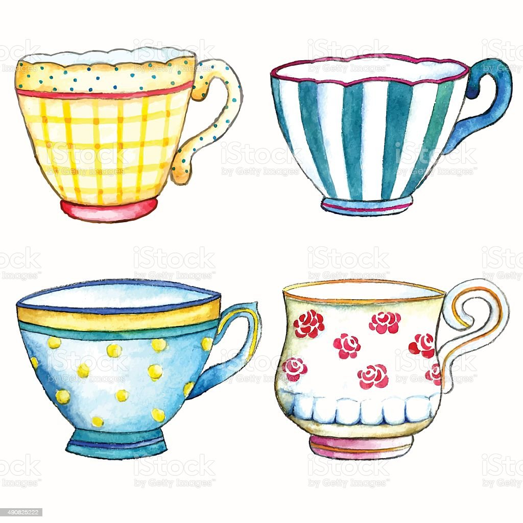 Watercolor tea cups. vector art illustration