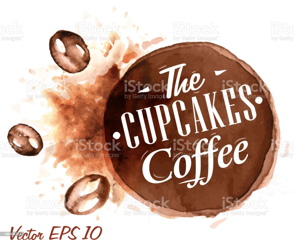 Watercolor the cupcakes coffee Badges royalty-free stock vector art