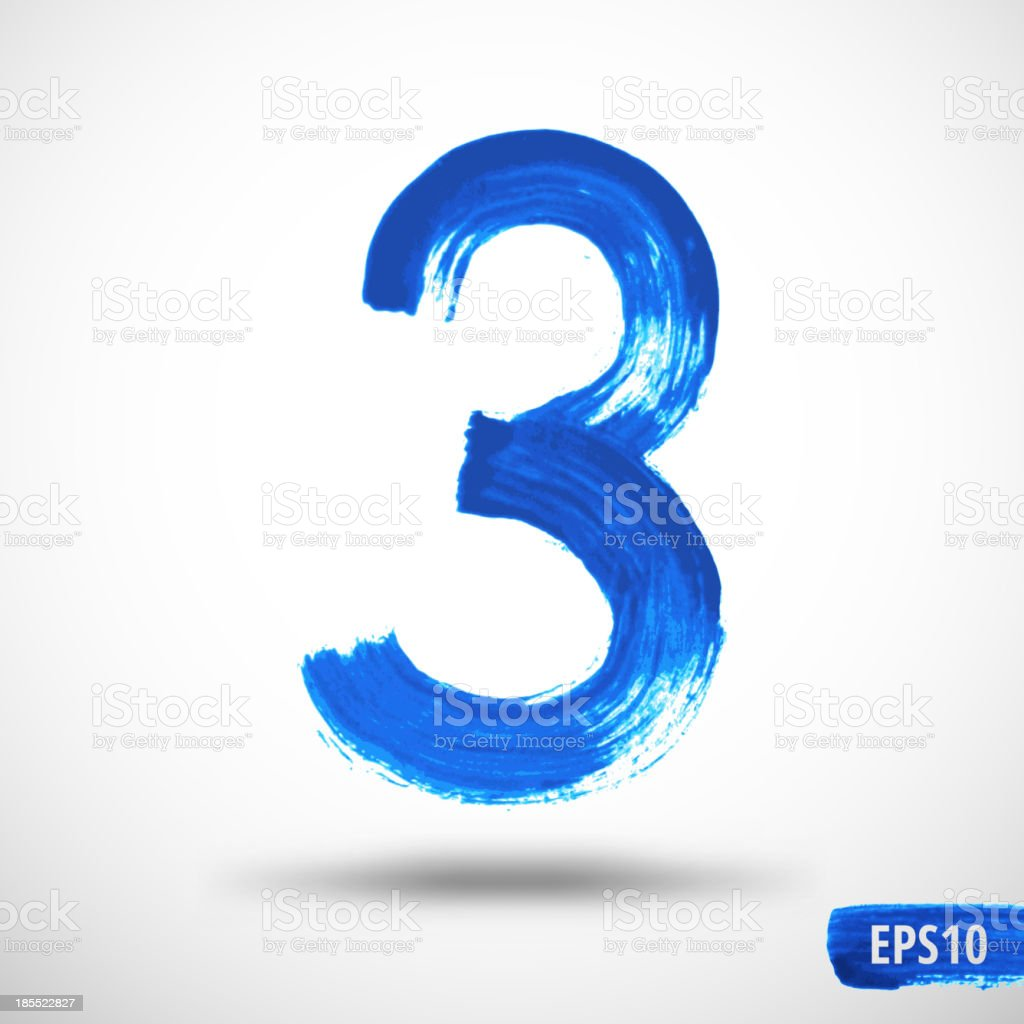 Watercolor Three Number. Grunge Background royalty-free stock vector art
