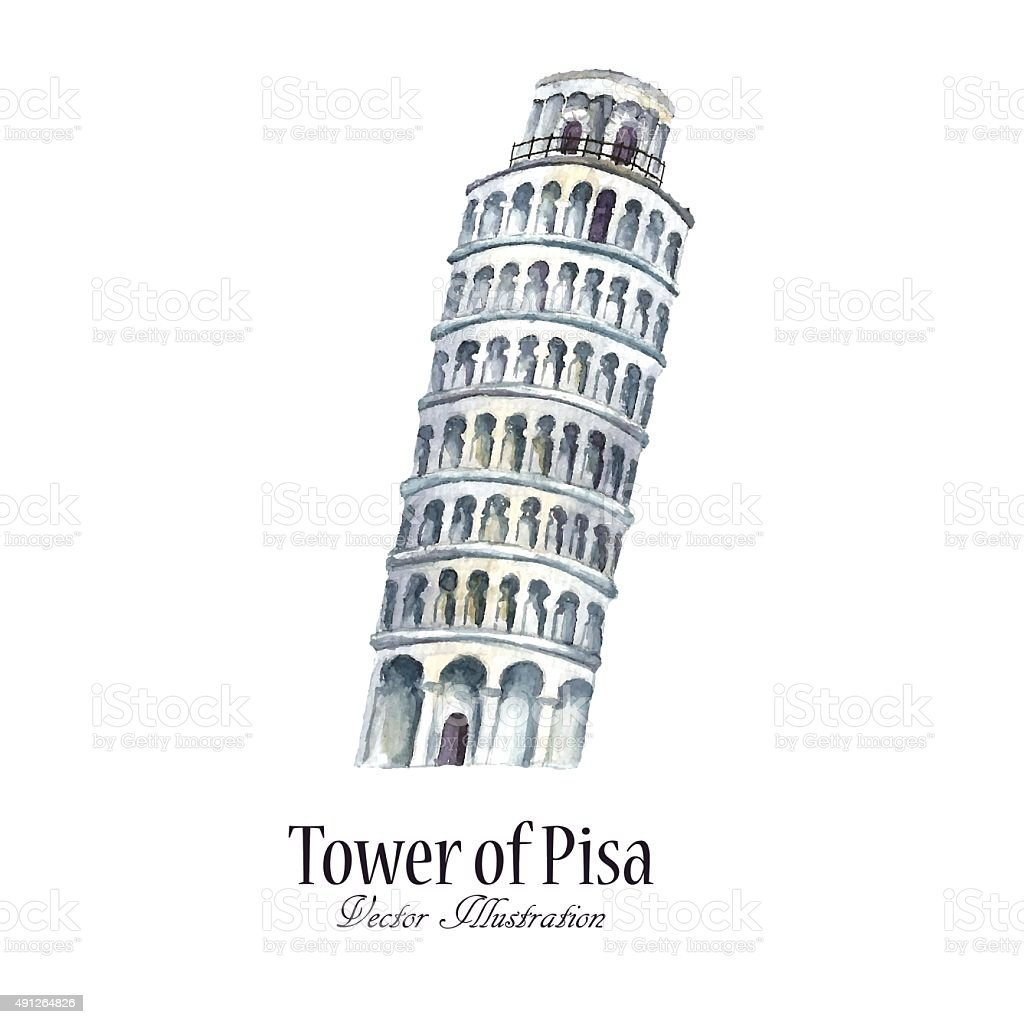 Watercolor tower of Pisa. vector art illustration