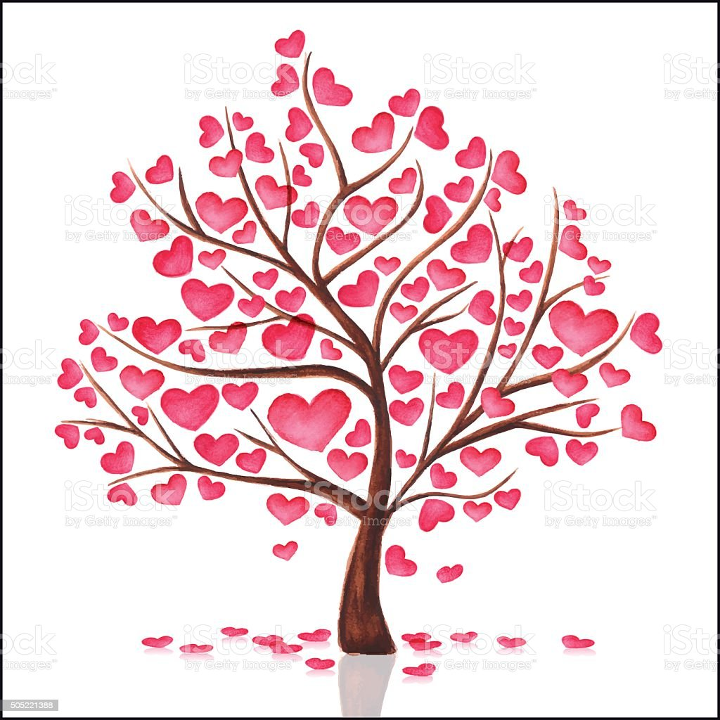 Watercolor Tree Heart vector art illustration