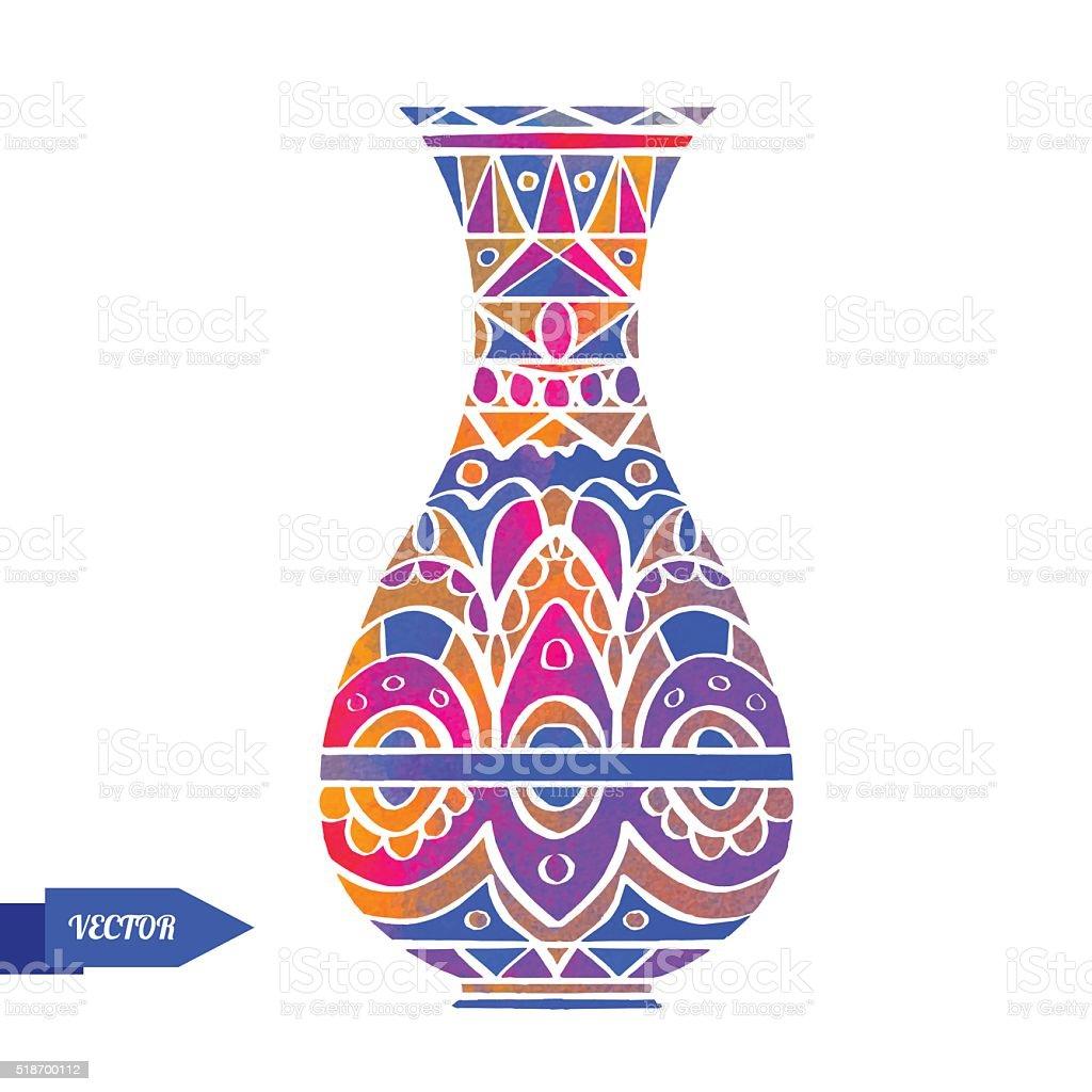 Watercolor vase vector art illustration