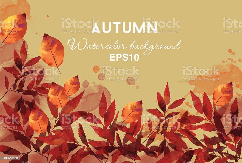watercolor vector autumn background vector art illustration