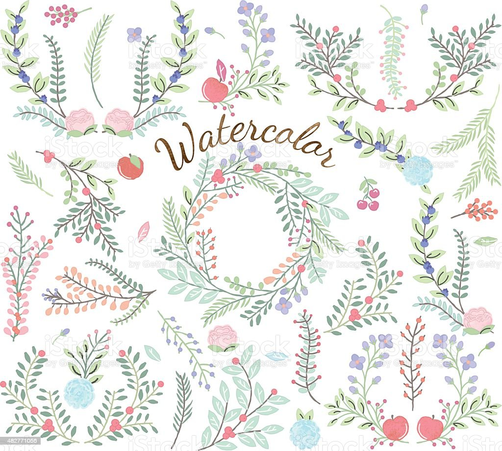 Watercolor Vector Collection of Florals vector art illustration