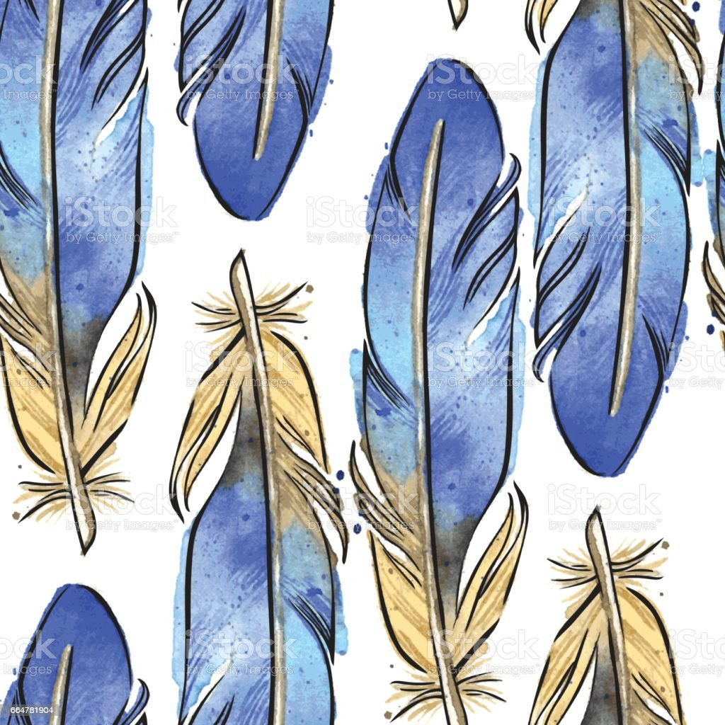 Watercolor Vector EPS10 Bluebird Feathers Seamless Pattern vector art illustration
