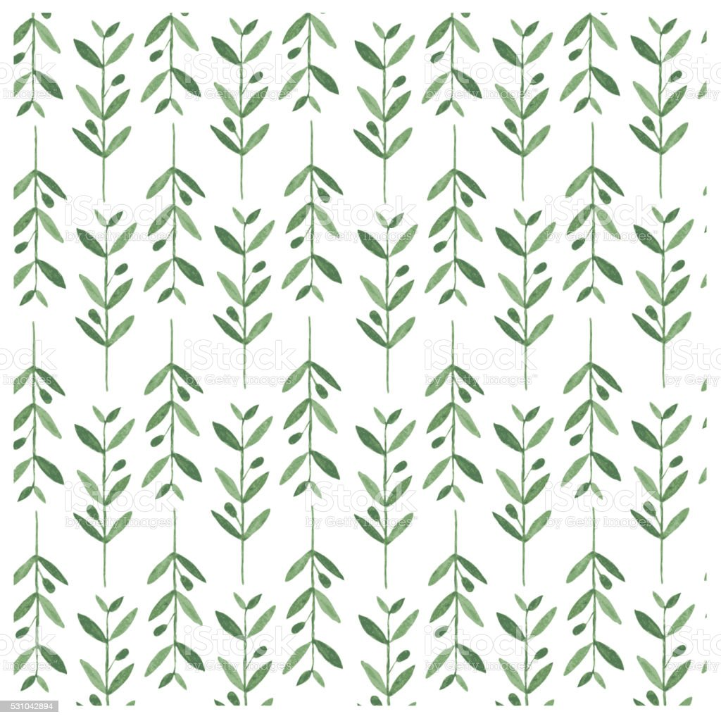 Watercolor vector pattern with olive branches. vector art illustration