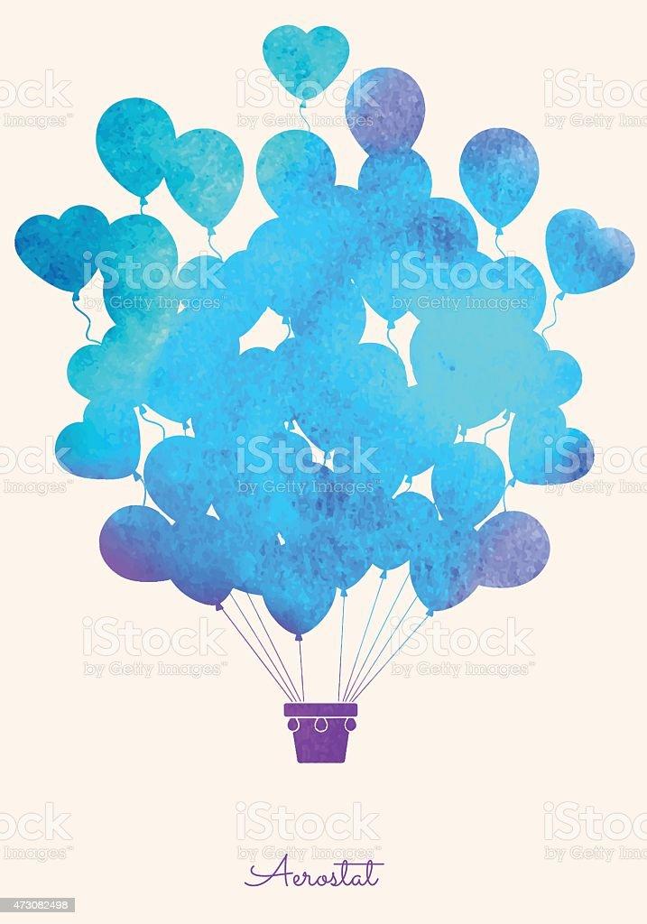 Watercolor vintage hot air balloon vector art illustration