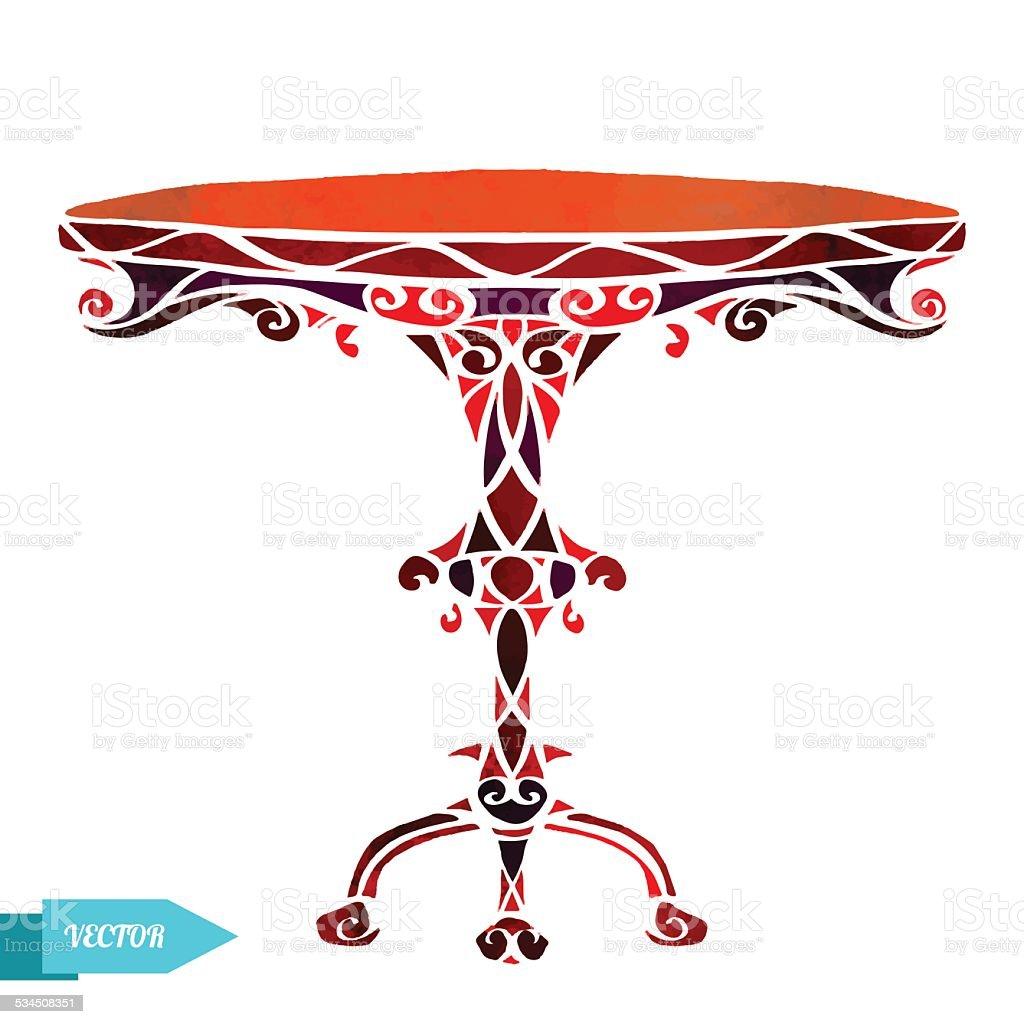 워터컬러 빈티지 둥근 나무 탁자 일러스트 534508351  iStock