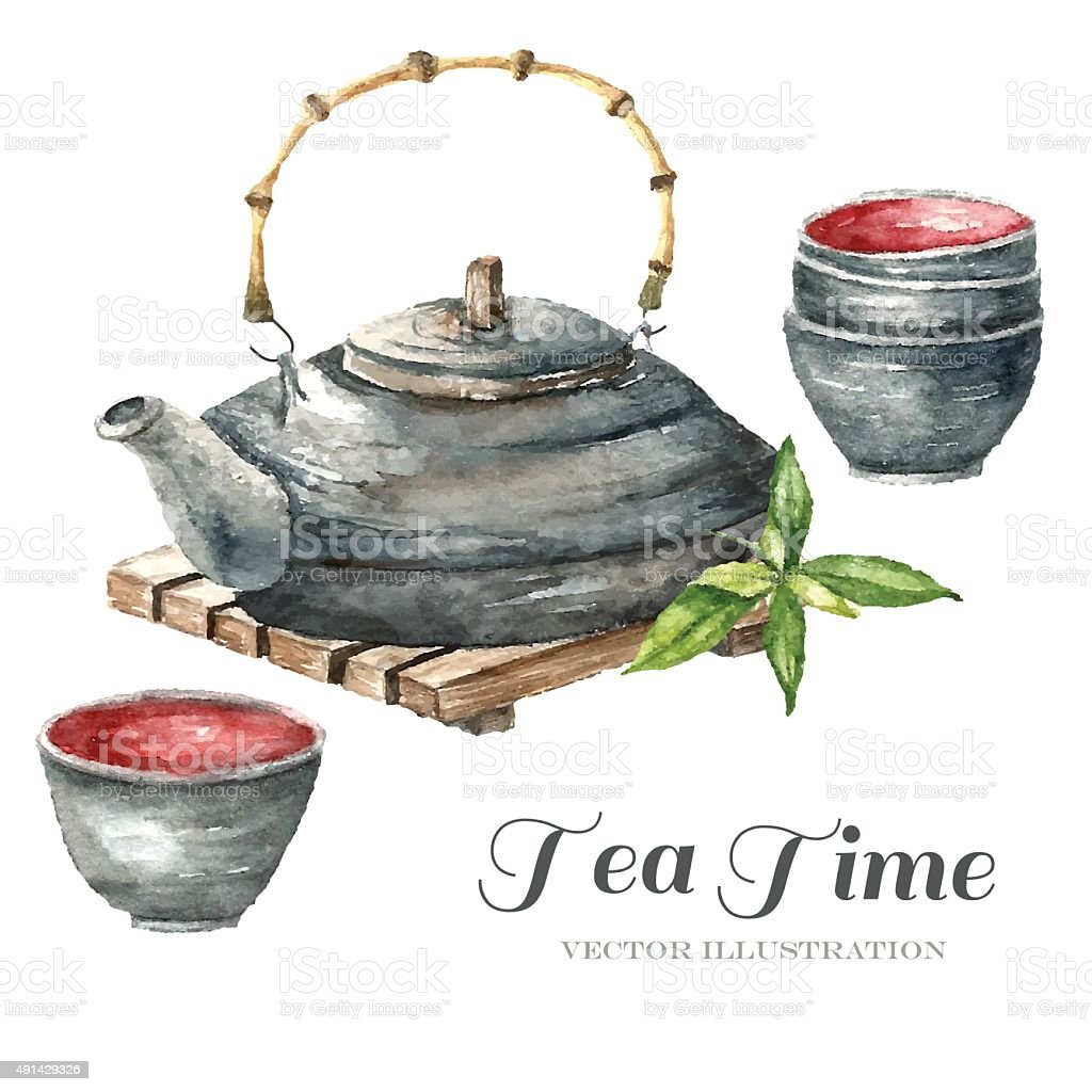 Watercolor Vintage teapot, two cups of tea vector art illustration