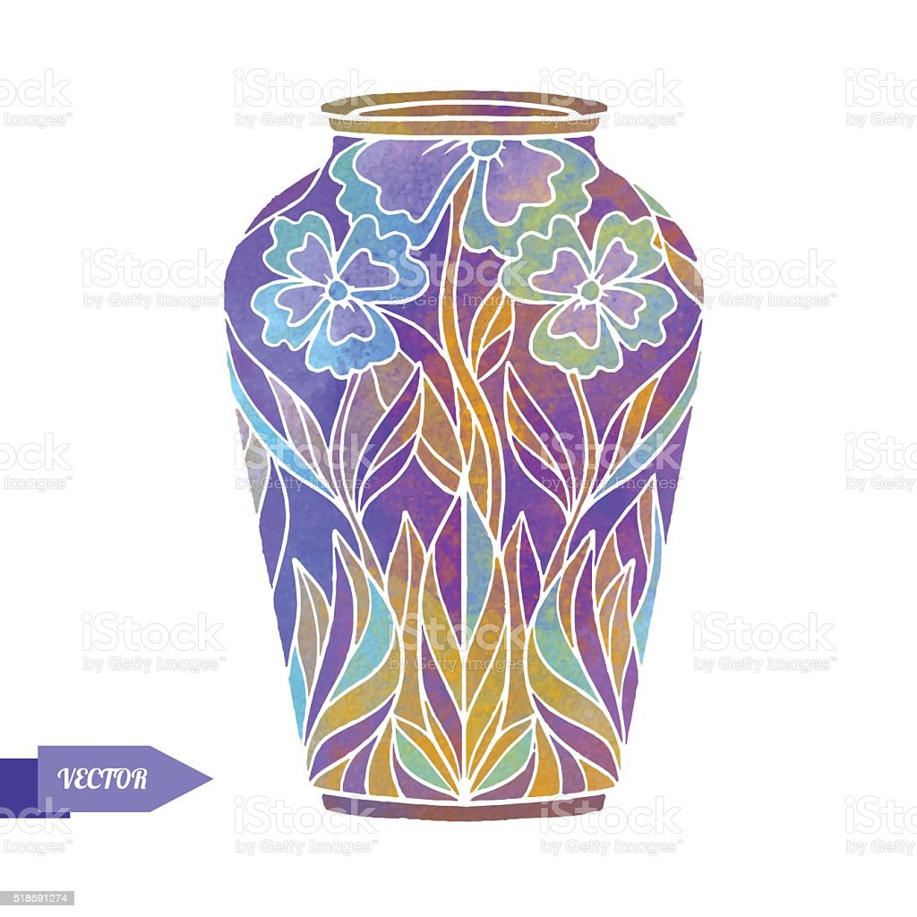 Watercolor vintage vase vector art illustration