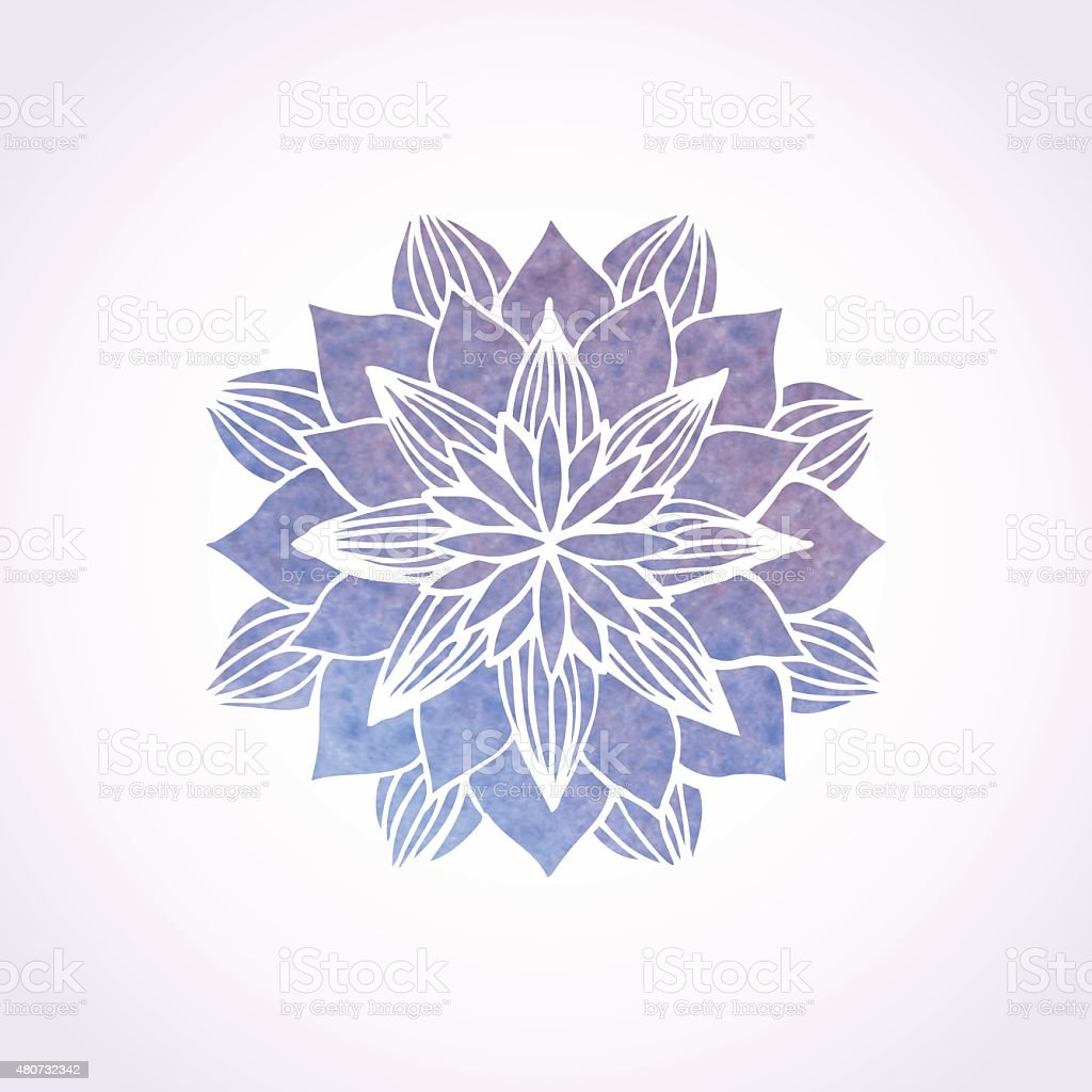 Watercolor violet lace pattern. Vector element. Mandala vector art illustration