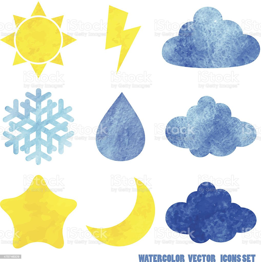 Watercolor weather icons royalty-free stock vector art