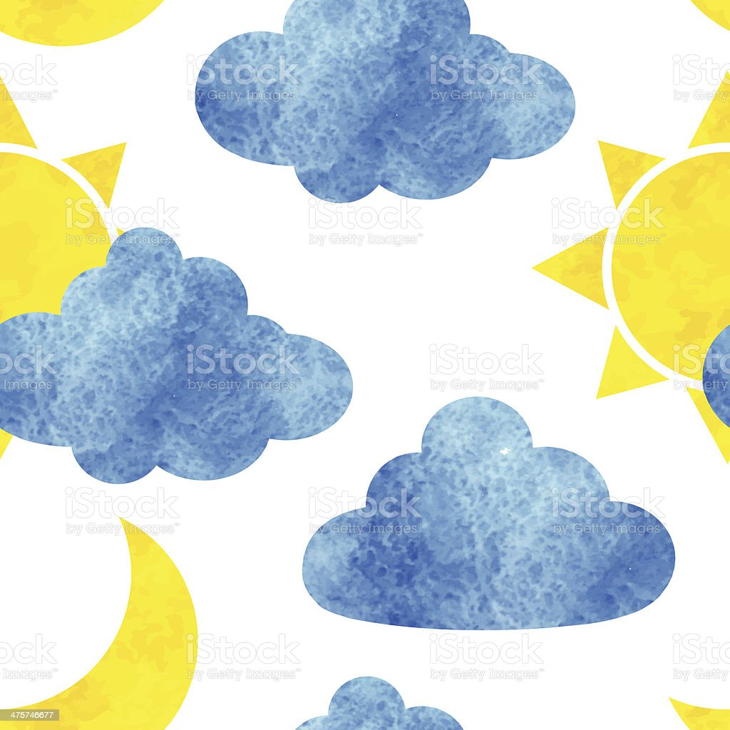 Watercolor weather seamless pattern royalty-free stock vector art