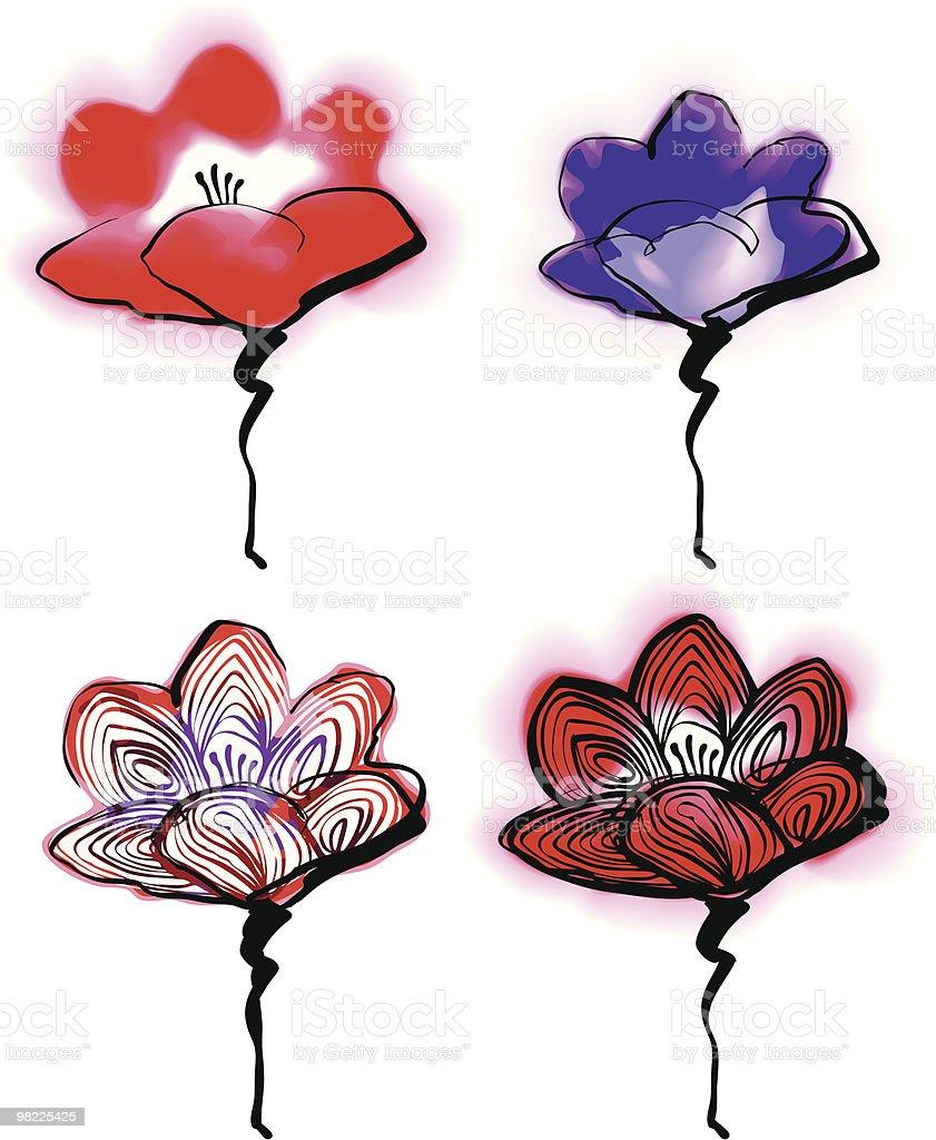 Watercolor Wild Flowers royalty-free stock vector art