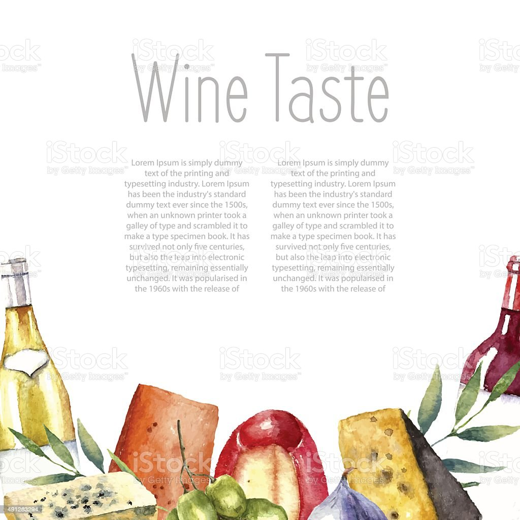 Watercolor wine and cheese frame. vector art illustration