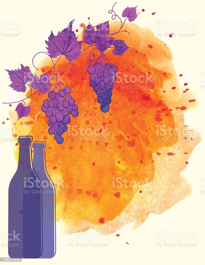 Watercolor Wine Poster wituh Grapes and Bottle vector art illustration