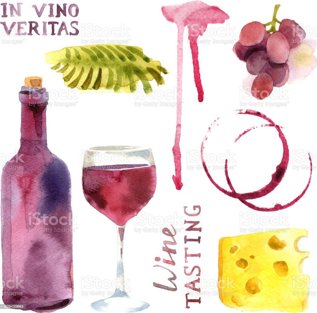 watercolor wine set vector art illustration