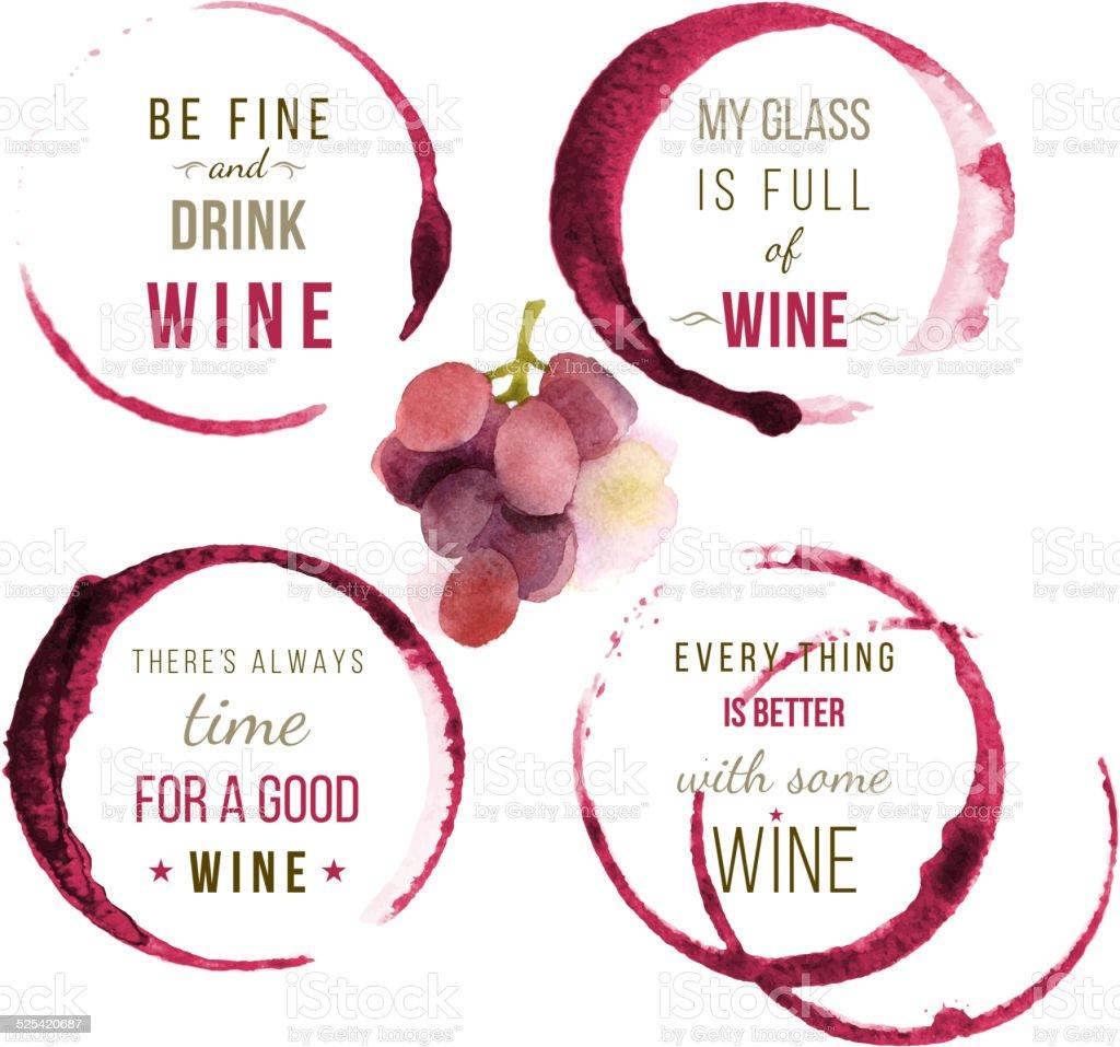watercolor wine type designs vector art illustration