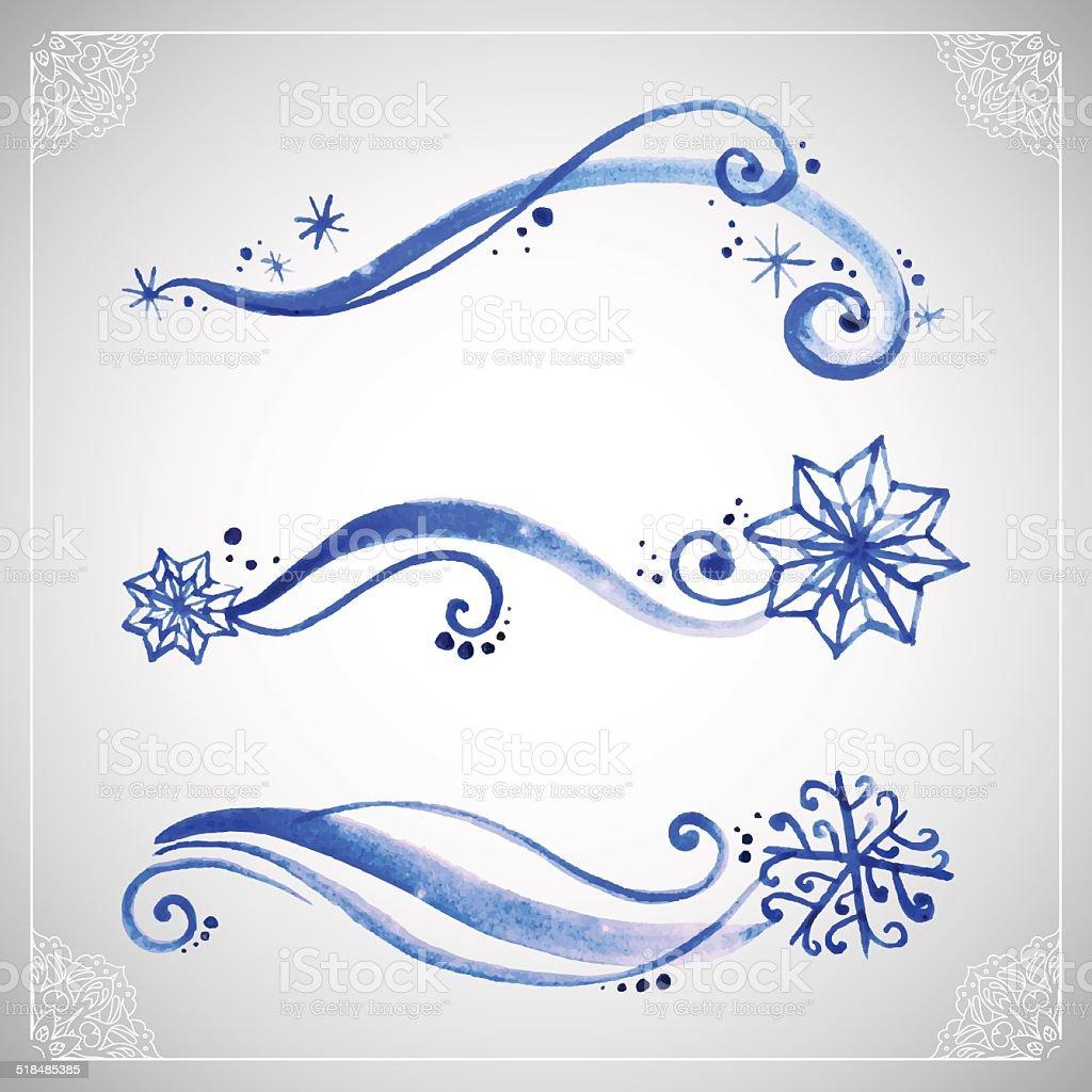 Watercolor winter frost ornament vector art illustration