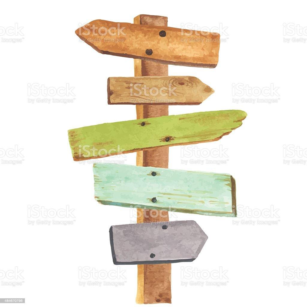 Watercolor wooden signpost vector art illustration