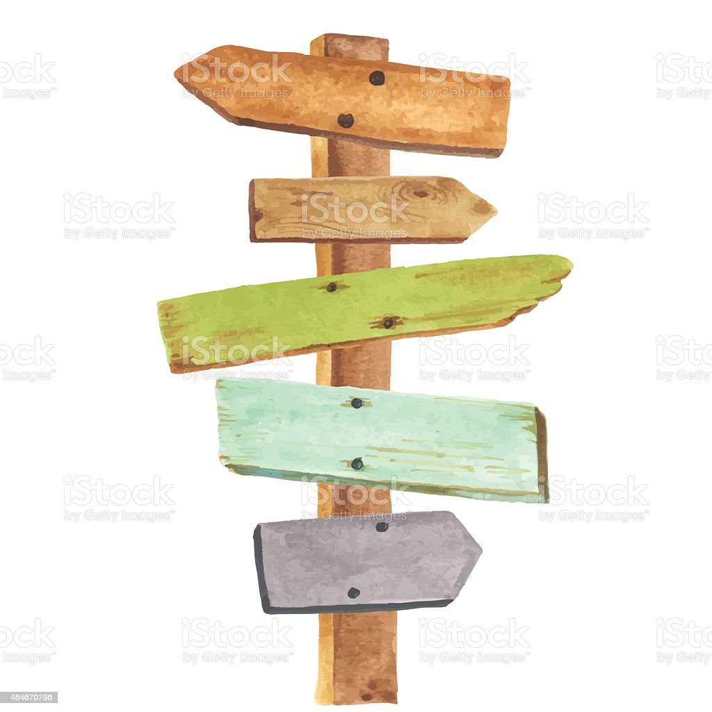 Watercolor wooden signpost vector art illustration