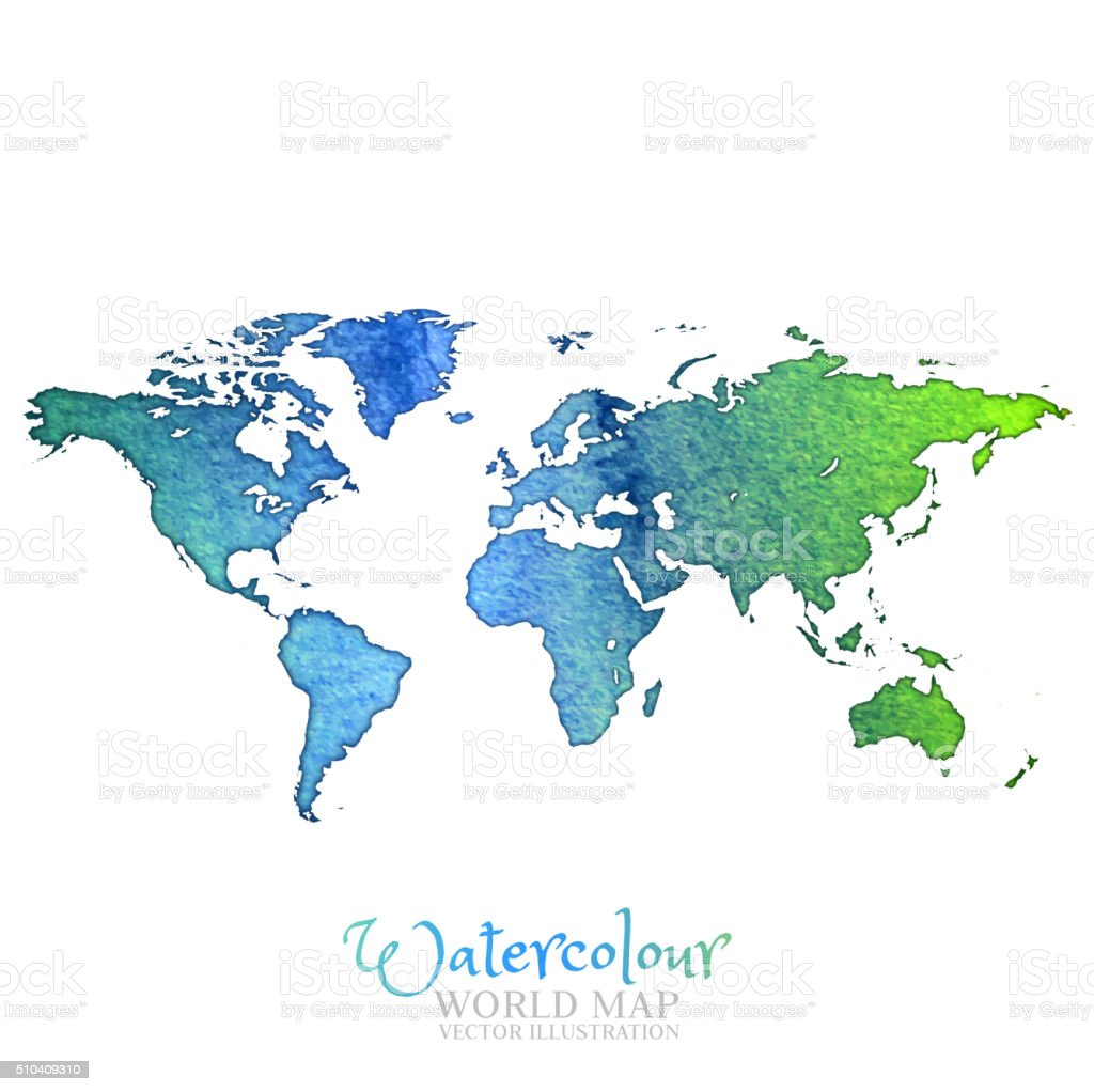 Watercolor World map vector art illustration