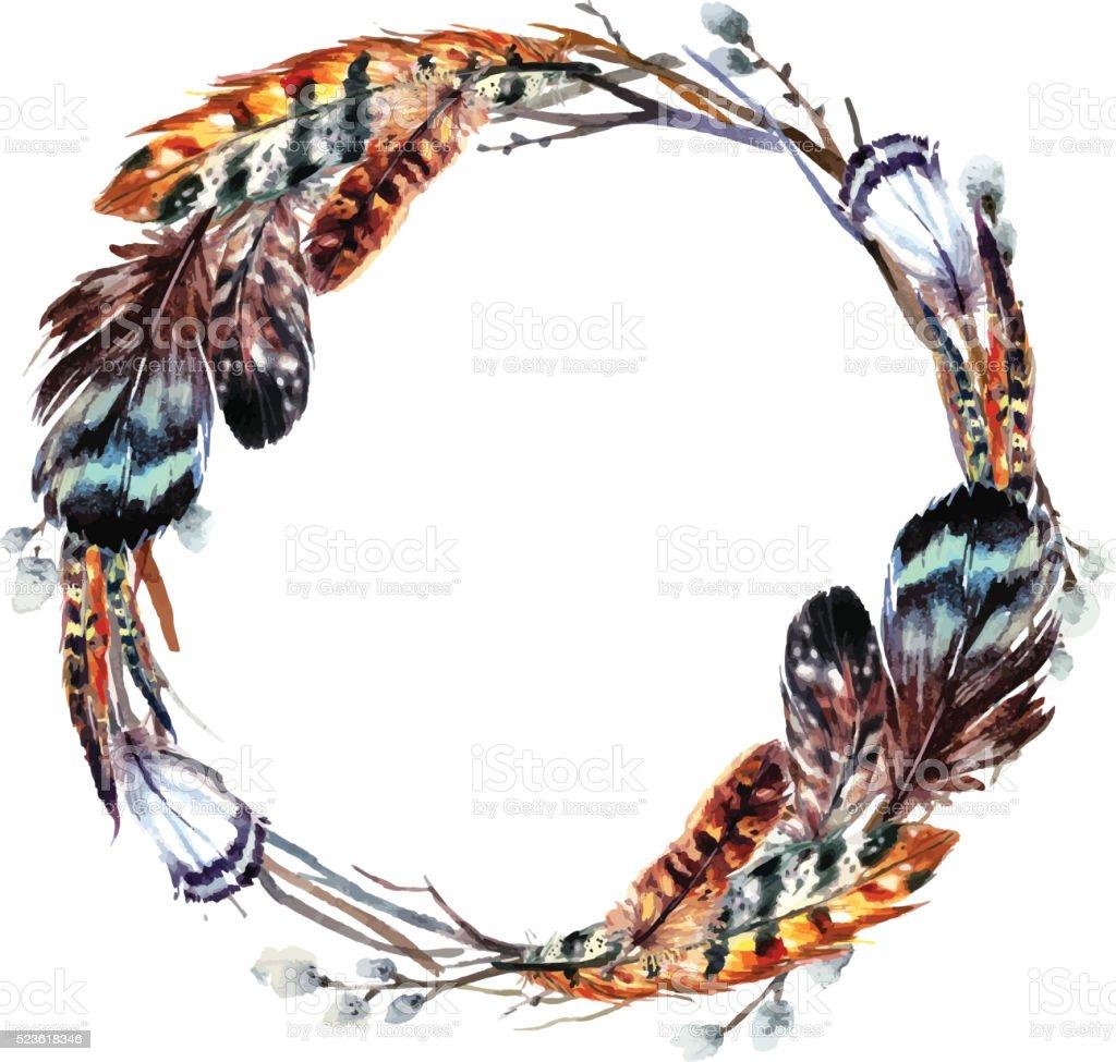 Watercolor wreath in boho style. vector art illustration