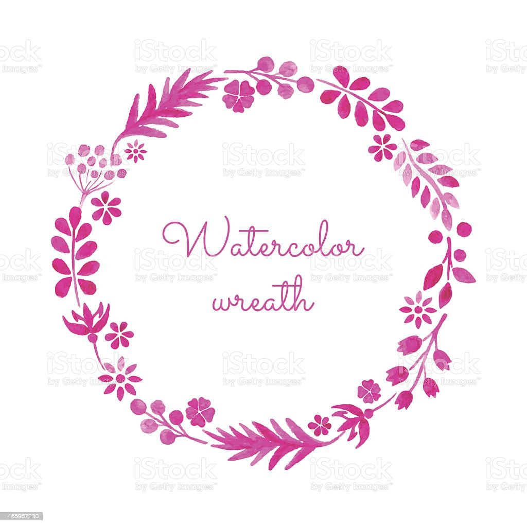 Watercolor wreath. vector art illustration